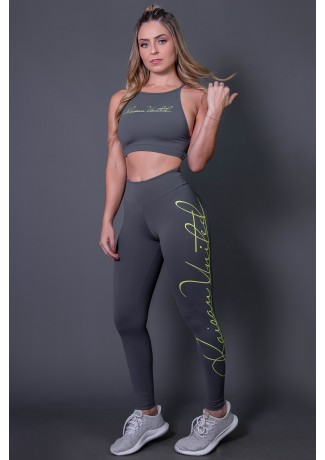 Calça Legging Fitness com Silk Assinatura Grande (Cinza Escuro / Verde Fluor) | Ref: K2592-C