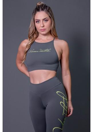 Top Fitness Transpassado com Silk Assinatura (Cinza Escuro / Verde Fluor) | Ref: K2593-C