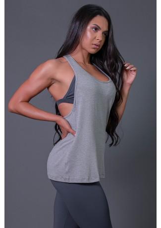 Camiseta Fitness com Detalhe de Elástico e Silk Love e Love (Mescla / Verde Fluor) | Ref: K2595-B