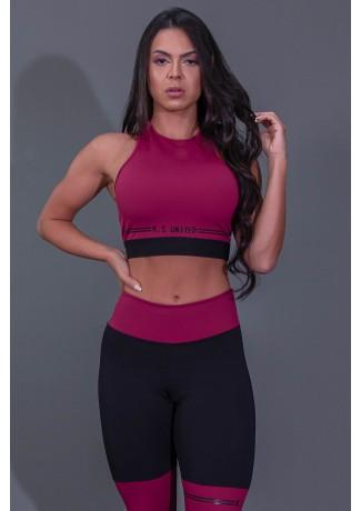 Cropped Fitness Nadador com Silk (Vinho / Preto) | Ref: K2683-B