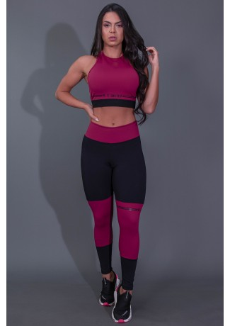 Calça Legging Fitness com Ponto de Cobertura e Silk (Preto / Vinho) | Ref: K2684-B
