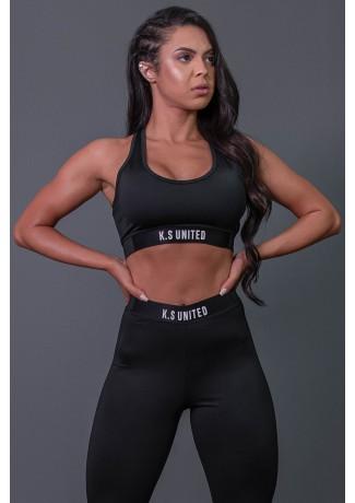 Top Fitness Nadador com Detalhe de Elástico e Silk (Preto / Branco) | Ref: K2685-A