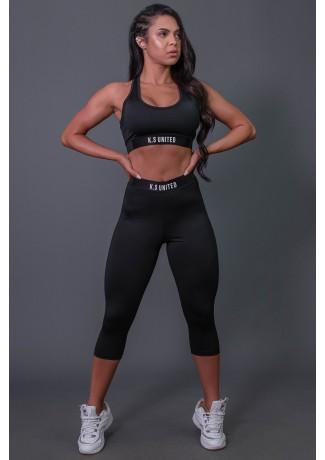 Corsário Fitness com Elástico e Silk (Preto / Branco) | Ref: K2687-A