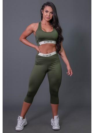 Corsário Fitness com Elástico e Silk (Verde Militar / Off-White) | Ref: K2687-C