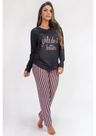 Pijama de Manga Longa Raglan Estampa Digital (Girls Do It Better) | Ref: K2803