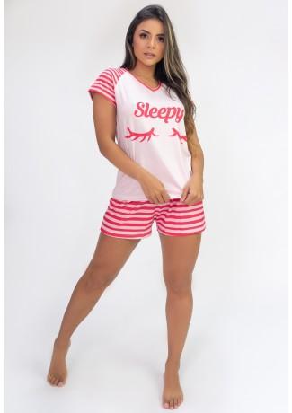 Pijama de Manga Curta e Short Estampa Digital (Sleepy) | Ref: K2819