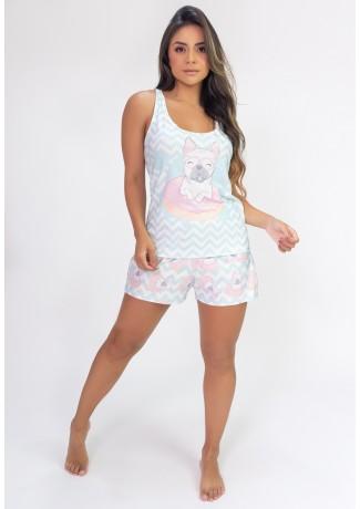 Pijama Camiseta Nadador e Short Estampa Digital (Pug) | Ref: K2822