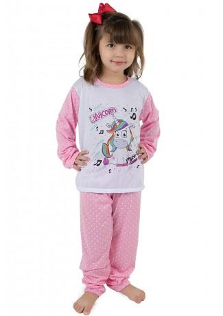Pijama longo de Malha Infantil 108 (Unicórnio Rosa) | Ref: CEZ-PA108-005