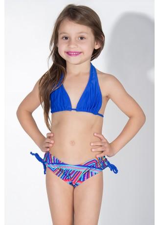 Biquini Cortinão com Calcinha Estampada Infantil (Azul Royal / Listrado Colorido) | Ref: DVBQ23-004