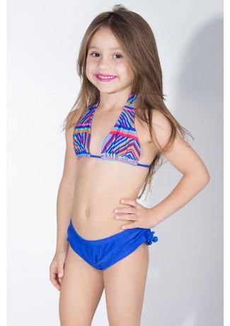 Biquini Cortinão com Calcinha Lisa Infantil (Listrado Colorido / Azul Royal) | Ref: DVBQ24-004