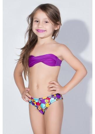 Biquini Infantil Tomara Que Caia com Bojo | Calcinha Estampada (Roxo / Frutas Roxas e Vermelhas) | Ref: DVBQ28-004