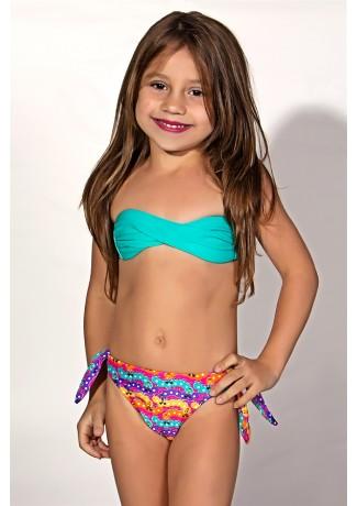 Biquini Infantil Tomara Que Caia com Bojo | Calcinha de Amarrar (Verde Esmeralda / Centopeias Coloridas) | Ref: DVBQ34-004