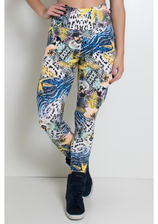 Legging Estampada (Floral com Oncinha) | Ref: KS-F27-075