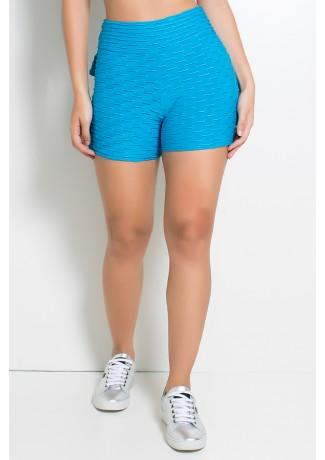 Short Tecido Bolha Com Babado (Azul Celeste) |Ref: KS-F354-003