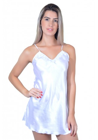 Camisola de cetim 004 (Branca)   Ref: CEZ-CC02-003