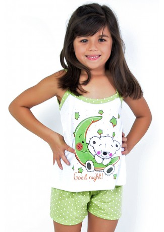 Babydoll Infantil 268 (Verde com poá branco) | Ref: CEZ-PA268-003