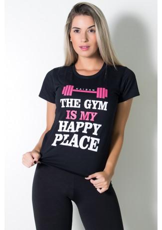 Camiseta Feminina (The Gym is my Happy Place) (Preto) | Ref: BES002-001