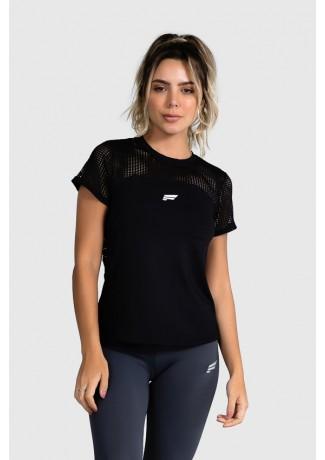 Blusa de Poliamida com Recorte de Tela (Preto) | Ref: GO12-A