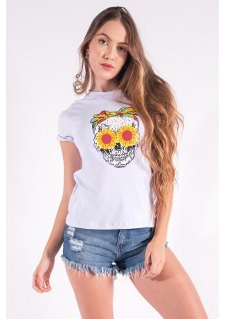 Blusa Nózinho com Silk Caveira Fashion (Branco) | Ref: K2832-B
