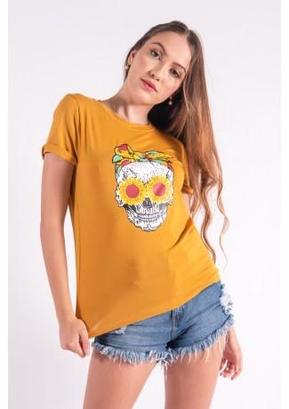 Blusa Nózinho com Silk Caveira Fashion (Mostarda) | Ref: K2832-G