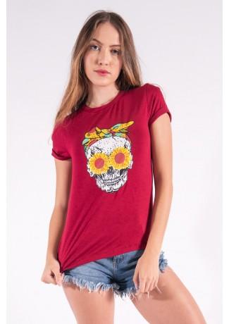 Blusa Nózinho com Silk Caveira Fashion (Vinho) | Ref: K2832-E