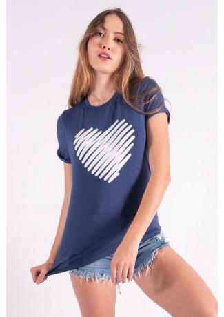 Blusa Nózinho com Silk Coração de Linhas (Azul Marinho) | Ref: K2843-F