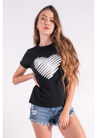 Blusa Nózinho com Silk Coração de Linhas (Preto)   Ref: K2843-A