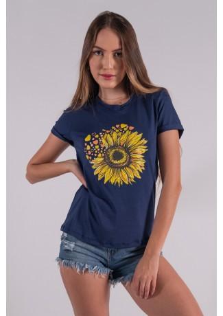 Blusa Nózinho com Silk Girassol e Corações (Azul Marinho) | Ref: K2833-F