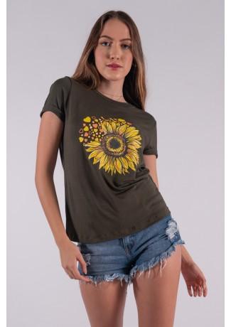 Blusa Nózinho com Silk Girassol e Corações (Verde Militar) | Ref: K2833-I