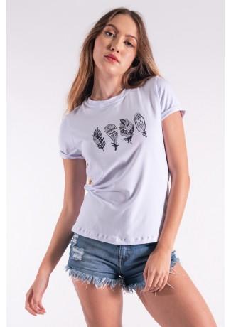 Blusa Nózinho com Silk Penas de Índio (Branco) | Ref: K2838-B
