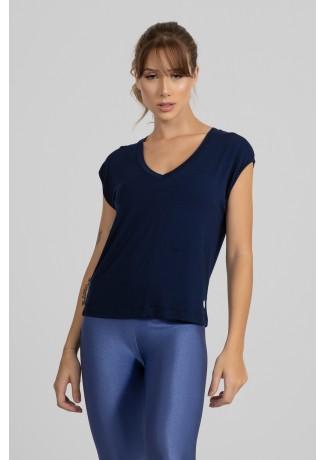 Blusa Viscolycra com Decote V (Azul Marinho) | Ref: GO411-E