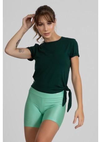 Blusa Viscolycra com Detalhe de Amarrar Lateral (Verde Bandeira) | Ref: GO400-C
