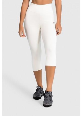 Calça Corsário de Poliamida Básica (Off-White) | Ref: GO2-D