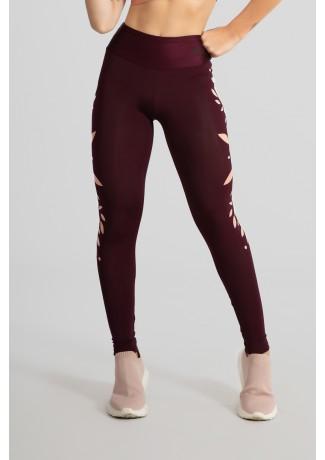 Calça Legging Tecido Platinado Básica com Silk (Bordô) | Ref: GO528-B