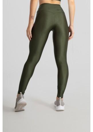 Calça Legging Tecido Platinado com Cós Triangular (Verde Militar) | Ref: GO530-D