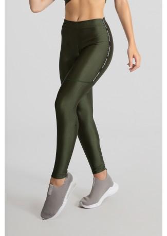 Calça Legging Tecido Platinado com Chapado (Verde Militar) | Ref: GO468-B