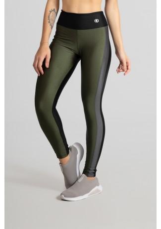 Calça Legging Tecido Platinado com Faixa Frontal (Preto / Verde Militar / Cinza) | Ref: GO464-B