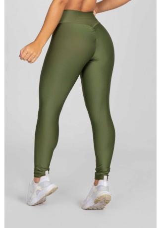 Calça Legging com Franzido Bumbum Up (Verde Militar) | Ref: K2879-E