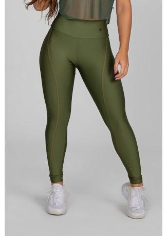 Calça Legging com Recorte Curvo e Pesponto (Verde Militar) | Ref: K2886-E