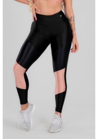 Calça Legging com Recorte Duplo Frontal (Preto / Rosa Claro) | Ref: K2963-B