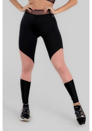 Calça Legging com Recorte e Cós com Elástico (Preto / Rosa Claro) | Ref: K2969-B