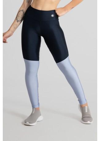 Calça Legging Tecido Platinado com Recorte em Diagonal (Azul Marinho / Azul Claro) | Ref: GO470-C
