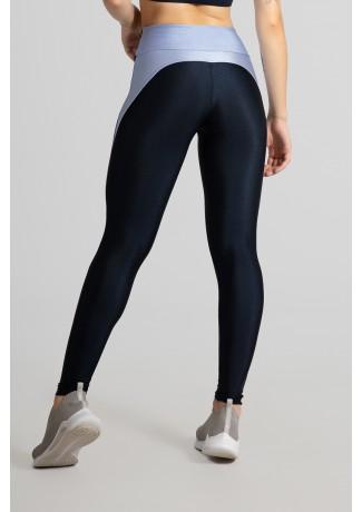 Calça Legging Tecido Platinado com Recorte Meia Lua (Azul Marinho / Azul Claro) | Ref: GO462-A