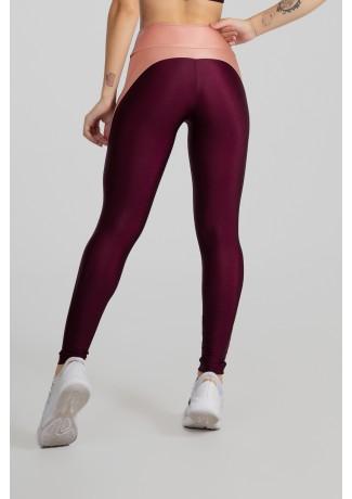 Calça Legging Tecido Platinado com Recorte Meia Lua (Bordô / Rosê) | Ref: GO462-C