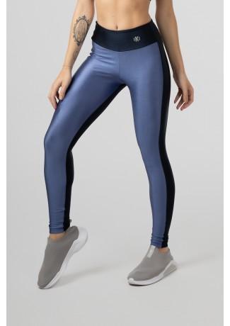 Calça Legging Tecido Platinado Duas Cores (Azul / Azul Marinho) | Ref: GO472-E