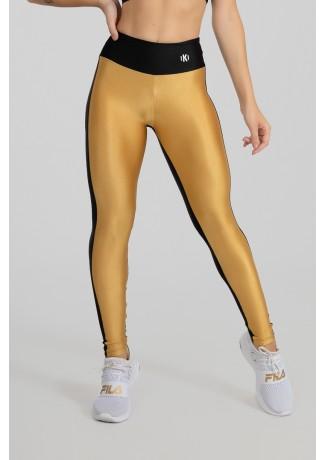 Calça Legging Tecido Platinado Duas Cores (Ouro / Preto) | Ref: GO472-A