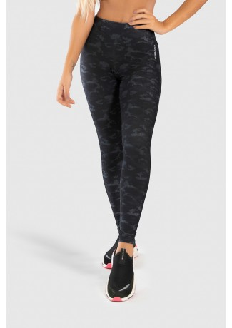 Calça Legging Fitness Estampa Digital Camouflaged Black | Ref: GO189-A