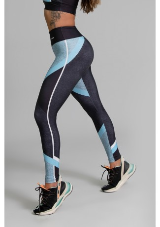 Calça Legging Fitness Estampa Digital Linear Blue | Ref: GO354