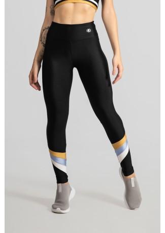 Calça Legging Tecido Platinado Três Cores (Preto / Ouro / Azul Claro / Branco) | Ref: GO531-A