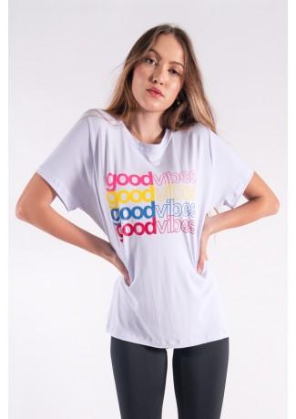 Camisetão com Silk Good Vibes (Branco) | Ref: K2848-B